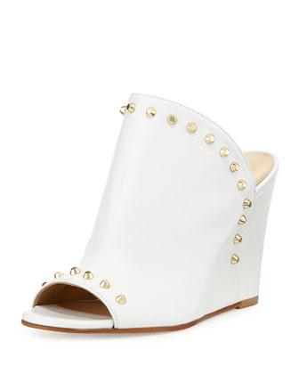 Upfrontal Studded Leather Wedge Sandal, White