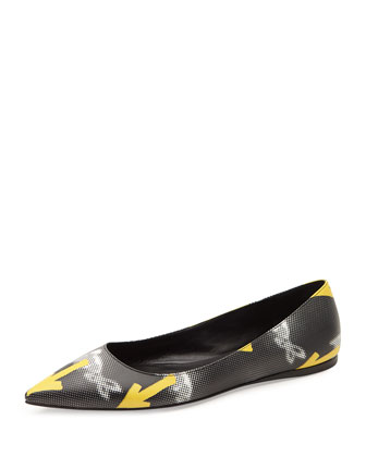 Graphic-Arrow Printed Ballerina Flat, Black/Yellow (Nero/Giallo)