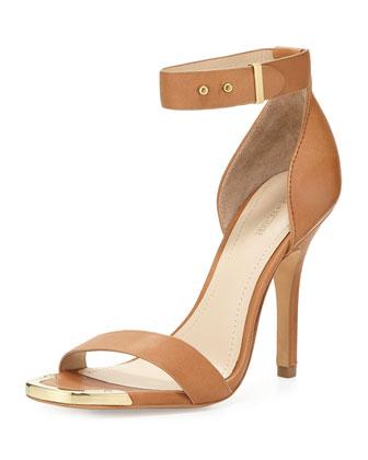 Yaya Leather Ankle-Wrap Sandal, Cognac