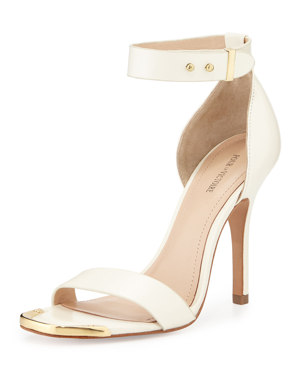 Yaya Leather Ankle-Wrap Sandal, Off White, Size: 36.5B/6.5B - Pour la Victoire
