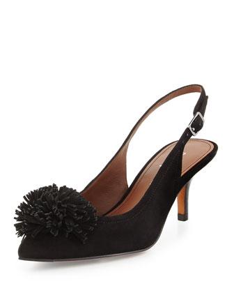 Floria Suede Pompom Slingback Pump, Black
