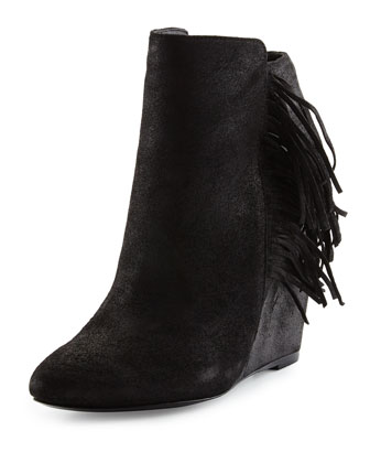 Irene Fringe Leather Wedge Bootie, Black