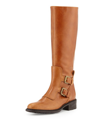 Perina Buckle Leather Knee Boot, Cognac