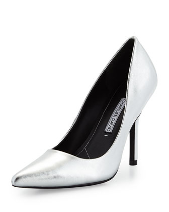 Sway II Metallic Pointed-Toe Pump, Silver