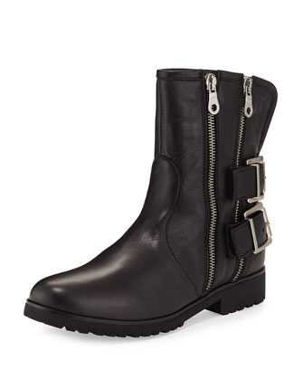 Val Leather Mid-Calf Bootie, Black