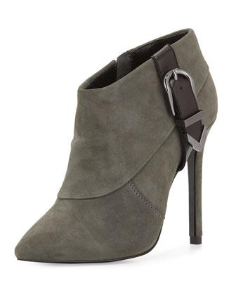 Valle Suede High-Heel Bootie, Dark Gray