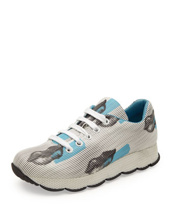Lips-Print Leather Sneaker, White/Blue
