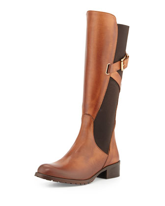 Hilda Leather Knee Boot, Cognac