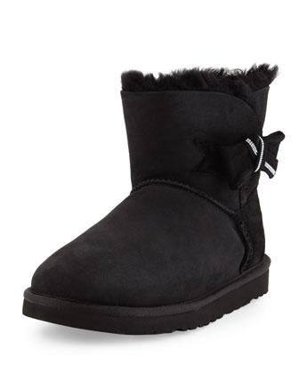 Jackee Mini Crystal-Bow Boot, Black