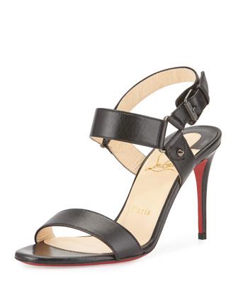 Sova Leather 85mm Red Sole Sandal, Black