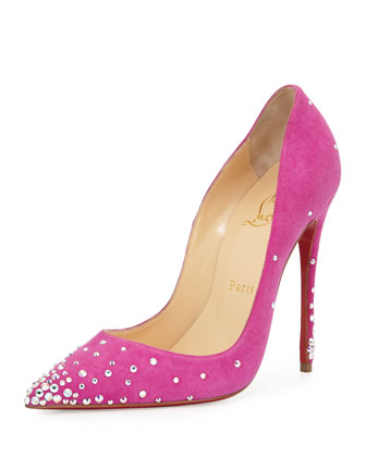 Degrastrass Suede 120mm Red Sole Pump, Indian Rose