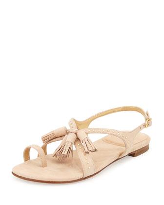 Flapagain Suede Tassel Sandal, Bisque