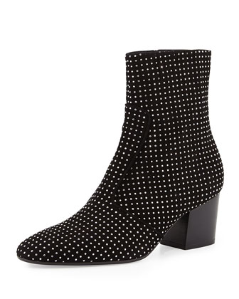 Ringo Studded Suede Bootie, Black