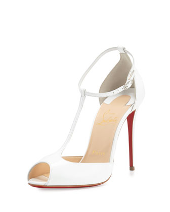 Senora Patent 100mm Red Sole T-Strap Sandal, White
