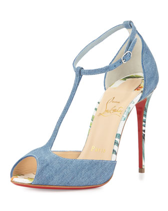 Senora Denim 100mm Red Sole Sandal, Blue/White