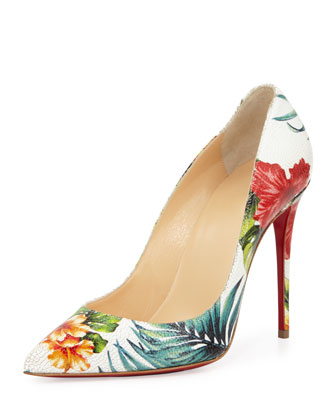 Pigalle Follies Floral 100mm Red Sole Pump, White/Multi