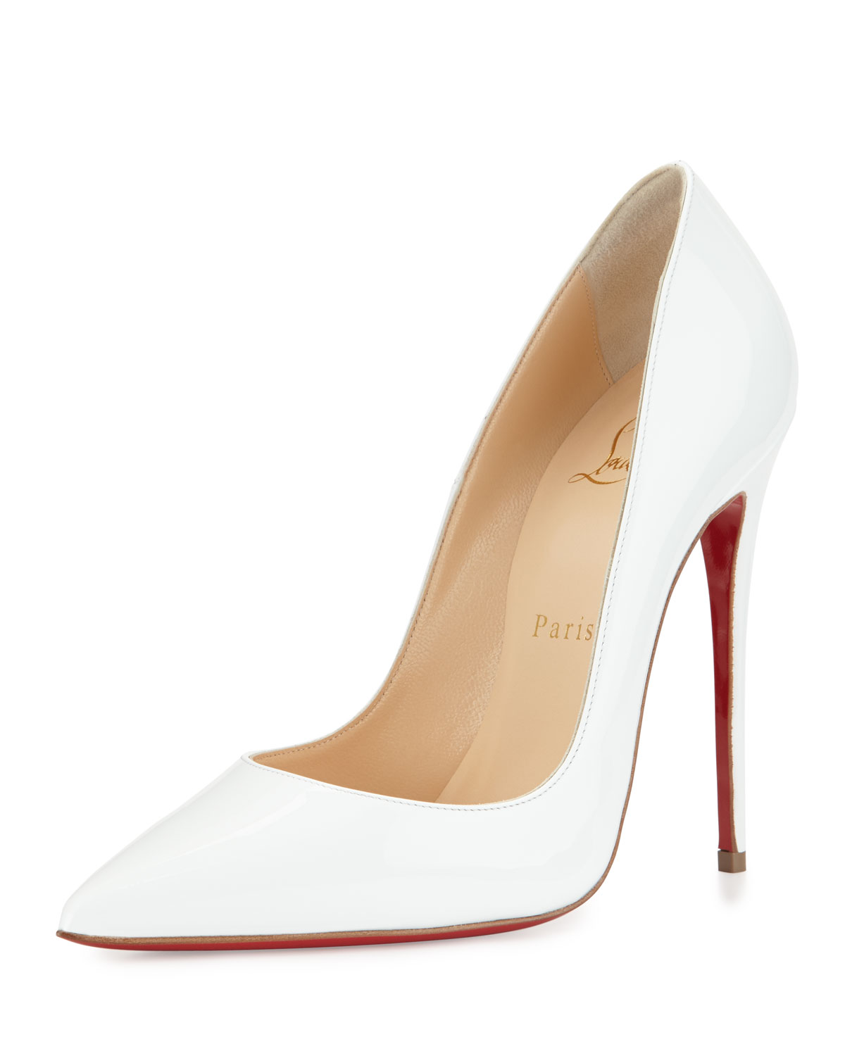 So Kate Patent 120mm Red Sole Pump, White, Women's, Size: 35.0B/5.0B - Christian Louboutin