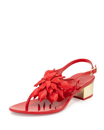 davina flower jelly low-heel thong sandal, red