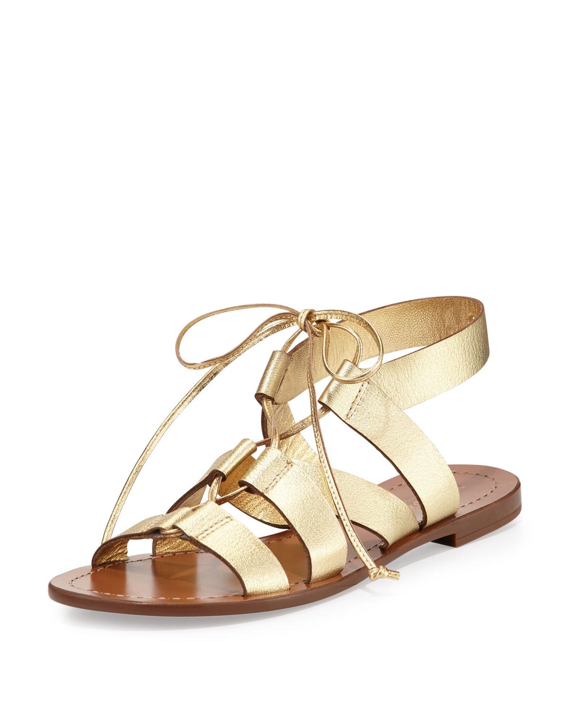 suno metallic lace-up flat sandal, gold, Women's, Size: 35.0B/5.0B - kate spade new york