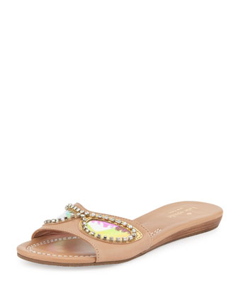 taleen too sunglasses slide sandal, natural/gold/blue mirror