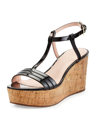 tallin patent platform sandal, black