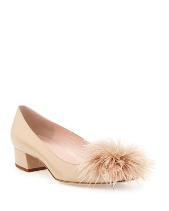 melinda patent feather pump, powder