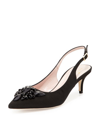 marina too embellished grosgrain pump, black