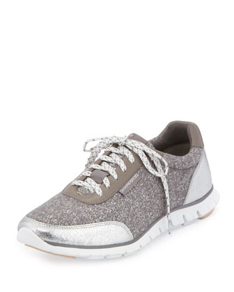 ZeroGrand™ Classic Lace-Up Sneaker, Argent Sparkle/White