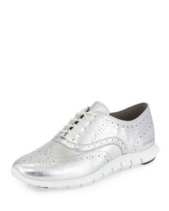 ZeroGrand™ Metallic Wing-Tip Oxford Sneaker, Argento/White