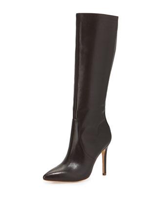Amanda Leather Knee Boot, Dark Brown