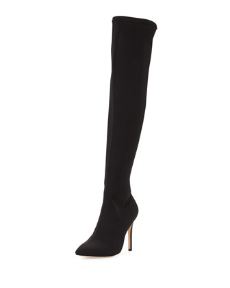 Dani Pointed-Toe Over-the-Knee Boot, Black
