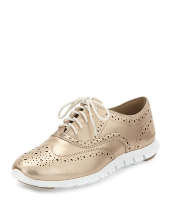 ZeroGrand™ Metallic Wing-Tip Oxford Sneaker, Gold Metallic/Optic
