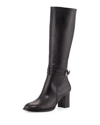 Hannah Leather Knee Boot, Black