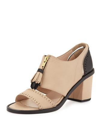 Miss. Dakota Tassel Loafer Sandal, Nude/Black