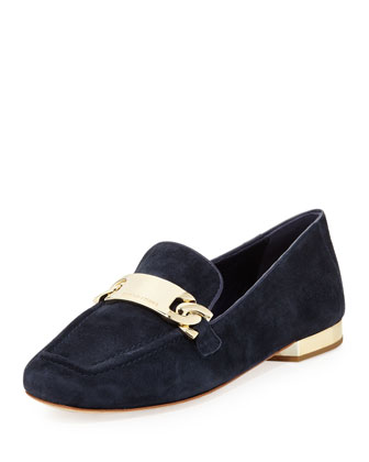 Hola Suede Chain Loafer, Navy