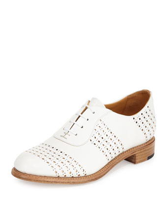 Mr. Smith Perforated Leather Oxford, White/Rose Gold