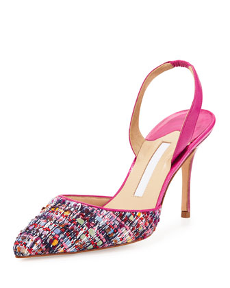 Carolyne Tweed High-Heel Halter Pump, Pink
