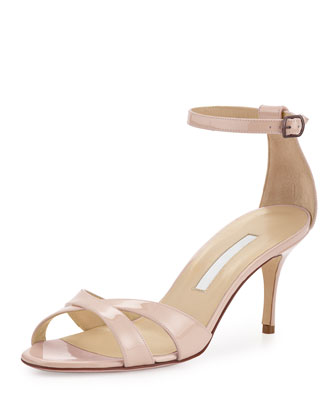 Callre Crisscross Patent 70mm Sandal, Nude