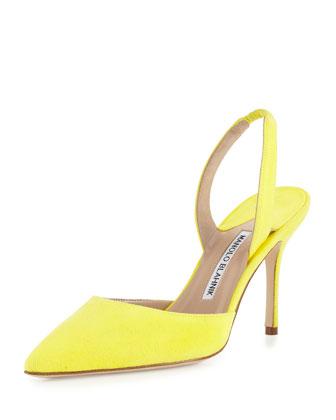 Carolyne Gala High-Heel Suede Halter Pump, Yellow