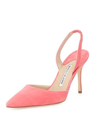 Carolyne Gala High-Heel Suede Halter Pump, Strawberry