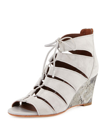Jeisa Lace-Up Wedge Sandal, Light Gray