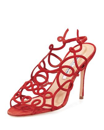 Gori Squiggly High-Heel Sandal, Red