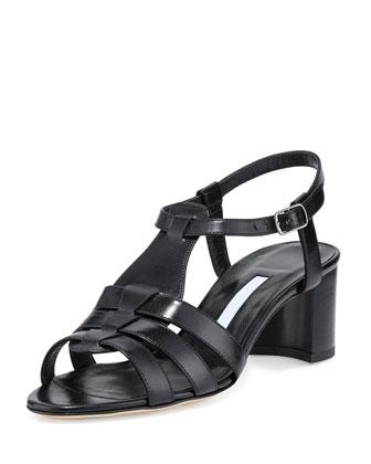 Compadre Leather Chunky-Heel Sandal, Black