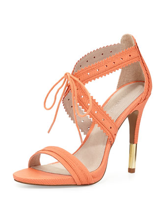 Shanna Crisscross Leather Sandal, Coral
