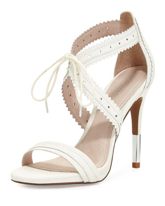 Shanna Crisscross Leather Sandal, Cream
