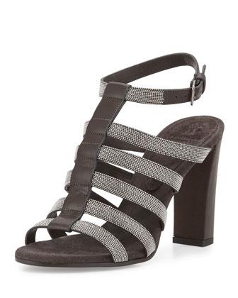 Monilli Caged High-Heel Sandal, Onyx