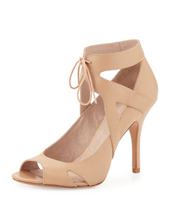 Yanni Ankle-Tie Leather Pump, Nude