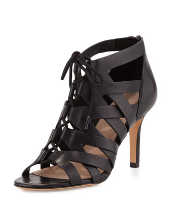 Camila Lace-Up Cage Sandal, Black