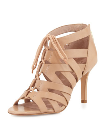 Camila Lace-Up Cage Sandal, Nude