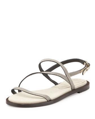 Monili Strappy Flat Sandal, Oat